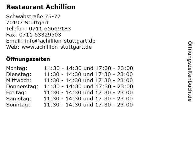 Restaurant Achillion in Stuttgart: Adresse und Öffnungszeiten