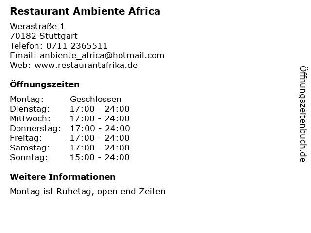 Restaurant Ambiente Africa in Stuttgart: Adresse und Öffnungszeiten