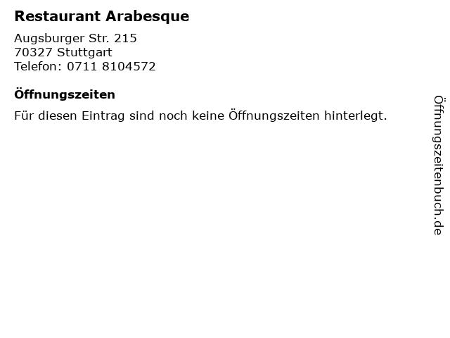 Restaurant Arabesque in Stuttgart: Adresse und Öffnungszeiten