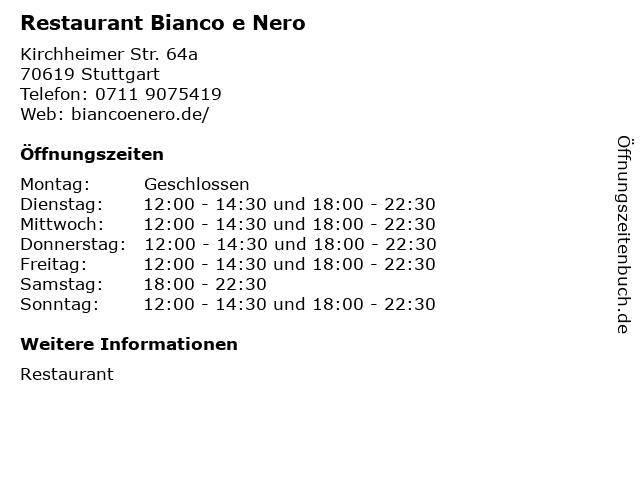 Restaurant Bianco e Nero in Stuttgart: Adresse und Öffnungszeiten