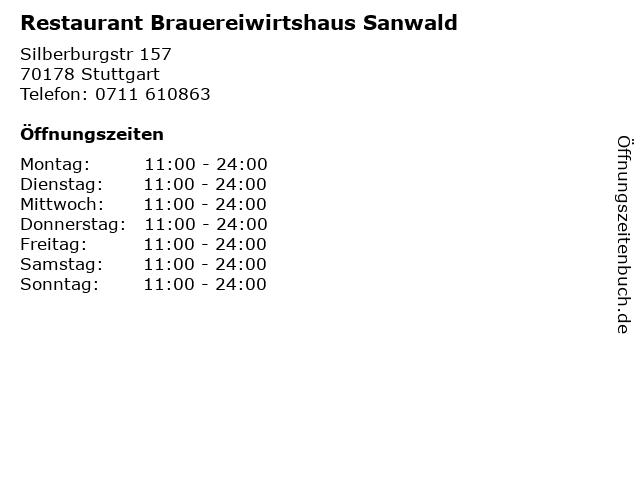 Restaurant Brauereiwirtshaus Sanwald in Stuttgart: Adresse und Öffnungszeiten