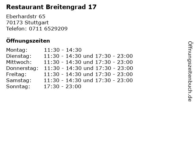 Restaurant Breitengrad 17 in Stuttgart: Adresse und Öffnungszeiten