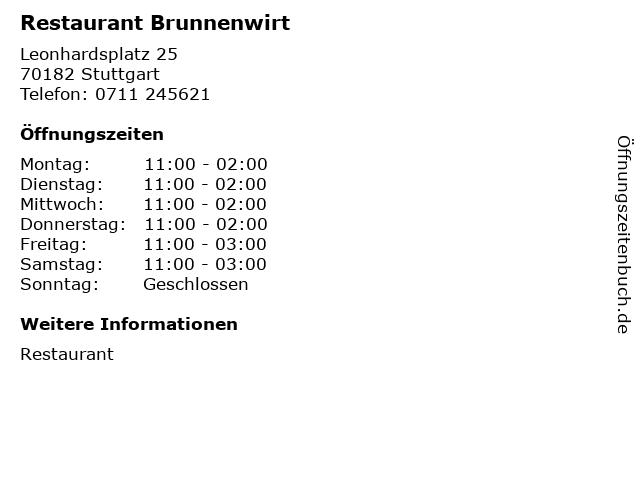 Restaurant Brunnenwirt in Stuttgart: Adresse und Öffnungszeiten