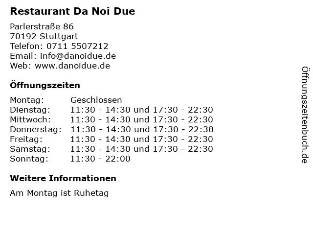 Restaurant Da Noi Due in Stuttgart: Adresse und Öffnungszeiten