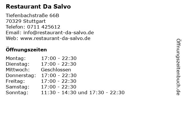 Restaurant Da Salvo in Stuttgart: Adresse und Öffnungszeiten