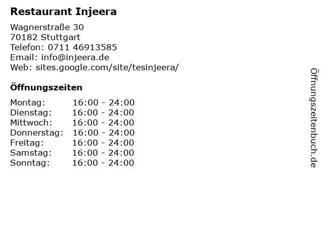 Restaurant Injeera in Stuttgart: Adresse und Öffnungszeiten