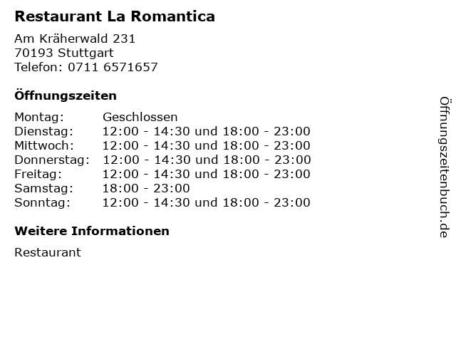 Restaurant La Romantica in Stuttgart: Adresse und Öffnungszeiten