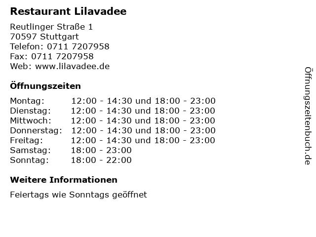 Restaurant Lilavadee in Stuttgart: Adresse und Öffnungszeiten