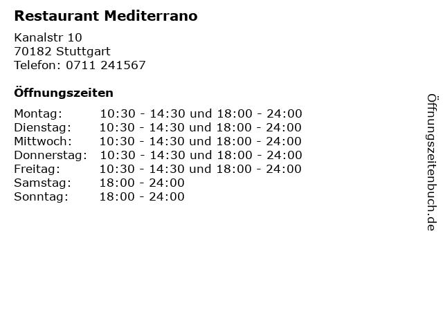 Restaurant Mediterrano in Stuttgart: Adresse und Öffnungszeiten