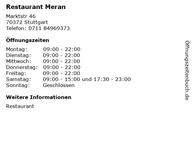 Restaurant Meran in Stuttgart: Adresse und Öffnungszeiten