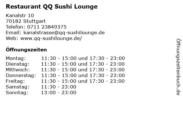 Restaurant QQ Sushi Lounge in Stuttgart: Adresse und Öffnungszeiten