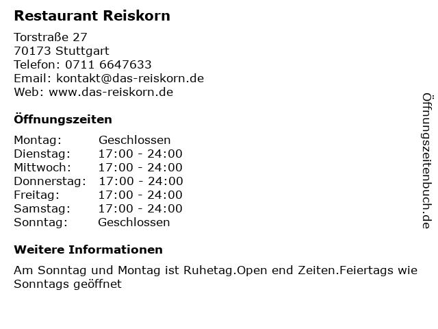 Restaurant Reiskorn in Stuttgart: Adresse und Öffnungszeiten