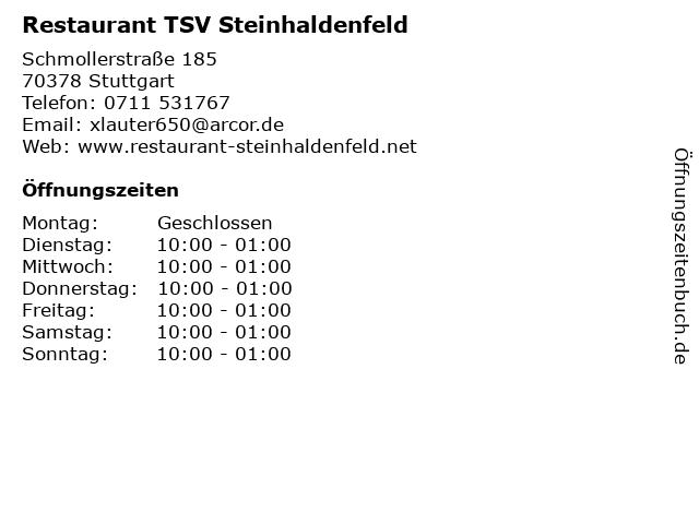 Restaurant TSV Steinhaldenfeld in Stuttgart: Adresse und Öffnungszeiten