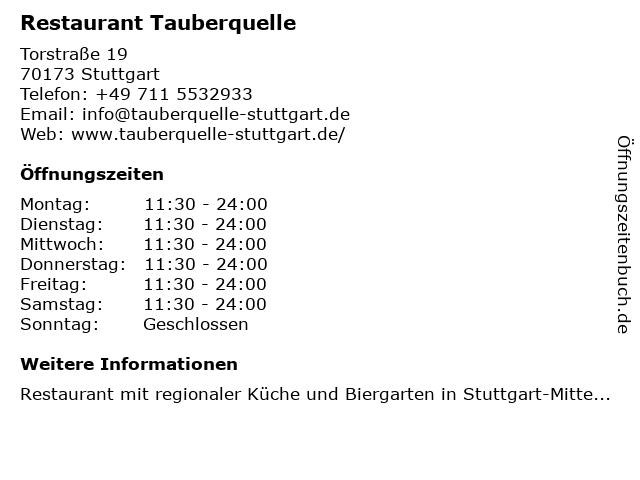 Restaurant Tauberquelle in Stuttgart: Adresse und Öffnungszeiten