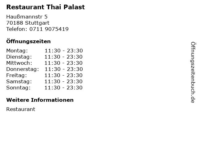 Restaurant Thai Palast in Stuttgart: Adresse und Öffnungszeiten