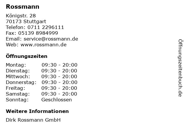 Dirk Rossmann GmbH in Stuttgart: Adresse und Öffnungszeiten