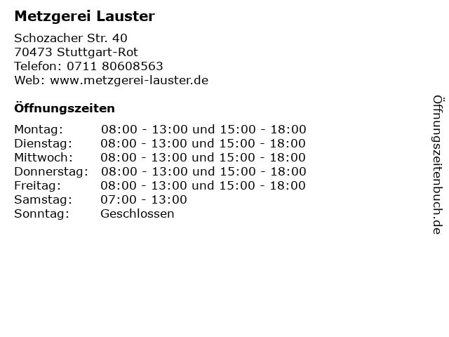 Metzgerei Lauster in Stuttgart-Rot: Adresse und Öffnungszeiten