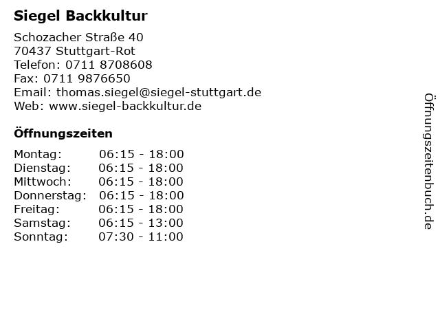Bäckerei Konditorei Siegel in Stuttgart-Rot: Adresse und Öffnungszeiten