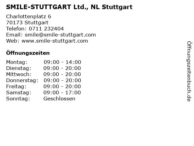 SMILE-STUTTGART Ltd., NL Stuttgart in Stuttgart: Adresse und Öffnungszeiten