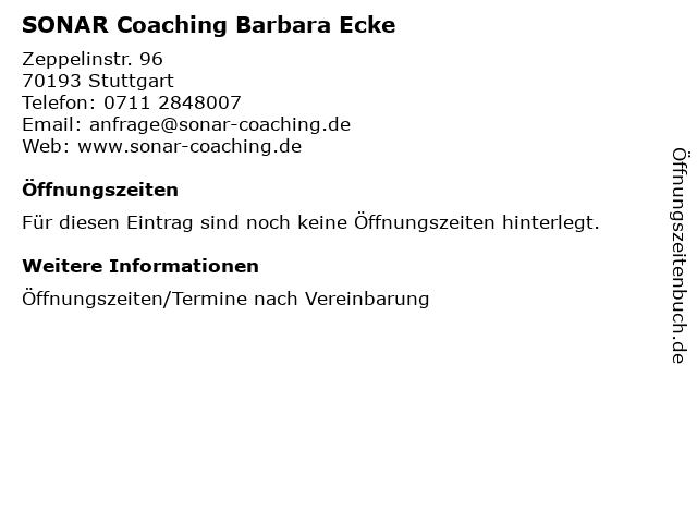 SONAR Coaching Barbara Ecke in Stuttgart: Adresse und Öffnungszeiten