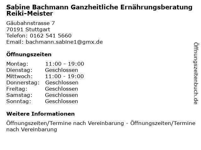 Sabine Bachmann Ganzheitliche Ernährungsberatung Reiki-Meister in Stuttgart: Adresse und Öffnungszeiten