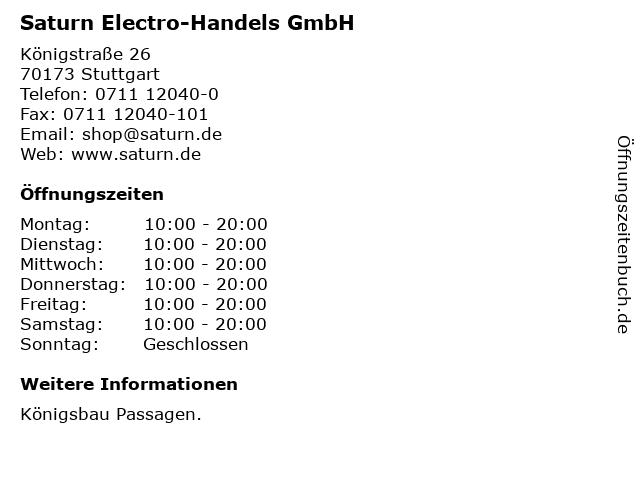 Saturn Electro-Handels GmbH in Stuttgart: Adresse und Öffnungszeiten