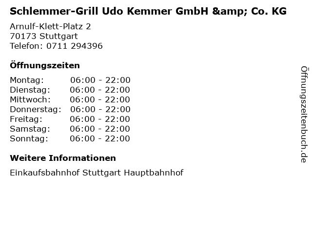 Schlemmer-Grill Udo Kemmer GmbH & Co. KG in Stuttgart: Adresse und Öffnungszeiten