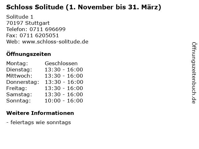 Schloss Solitude (1. November bis 31. März) in Stuttgart: Adresse und Öffnungszeiten