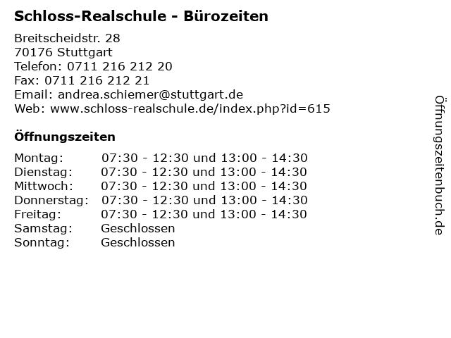 Schloss-Realschule - Bürozeiten in Stuttgart: Adresse und Öffnungszeiten