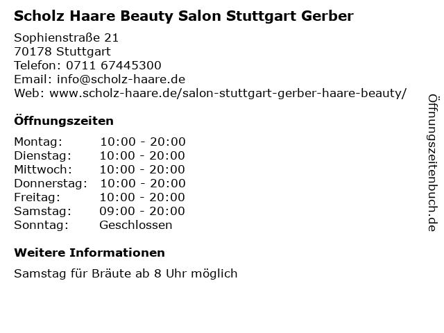 Scholz Haare Beauty in Stuttgart: Adresse und Öffnungszeiten
