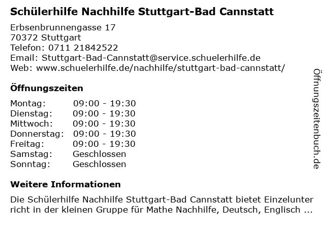 Schülerhilfe Nachhilfe Stuttgart-Bad Cannstatt in Stuttgart: Adresse und Öffnungszeiten