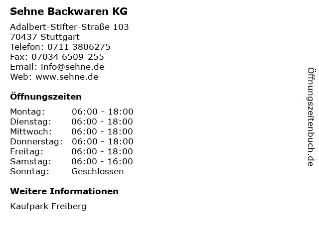 Sehne Backwaren KG in Stuttgart: Adresse und Öffnungszeiten