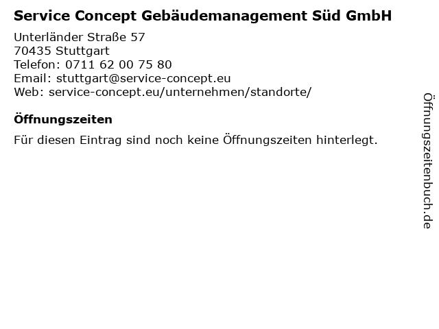 Service Concept Gebäudemanagement Süd GmbH in Stuttgart: Adresse und Öffnungszeiten