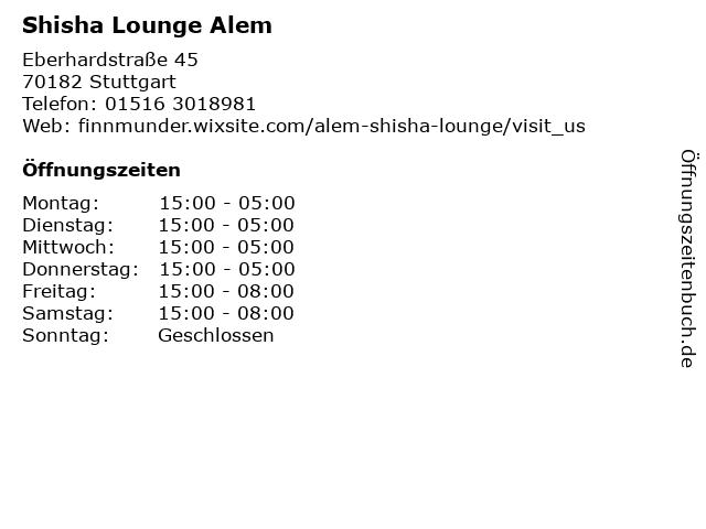 Shisha Lounge Alem in Stuttgart: Adresse und Öffnungszeiten