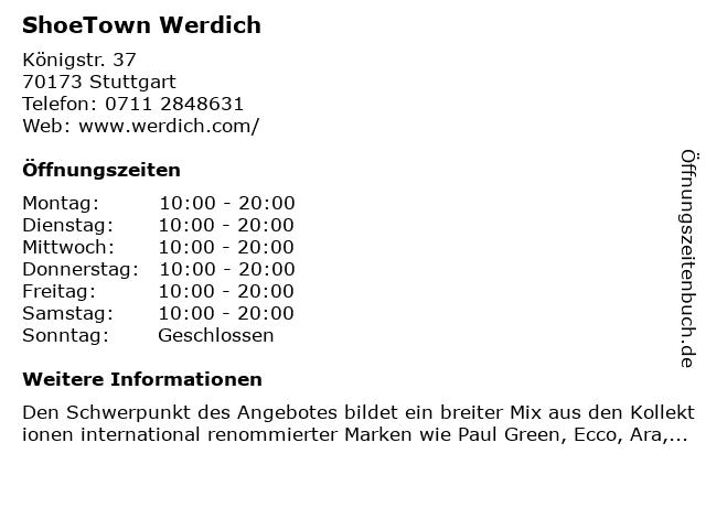 ShoeTown Werdich in Stuttgart: Adresse und Öffnungszeiten