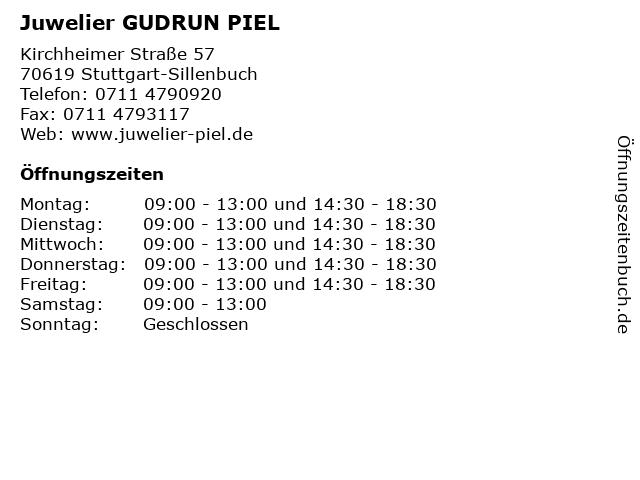 Juwelier GUDRUN PIEL in Stuttgart-Sillenbuch: Adresse und Öffnungszeiten