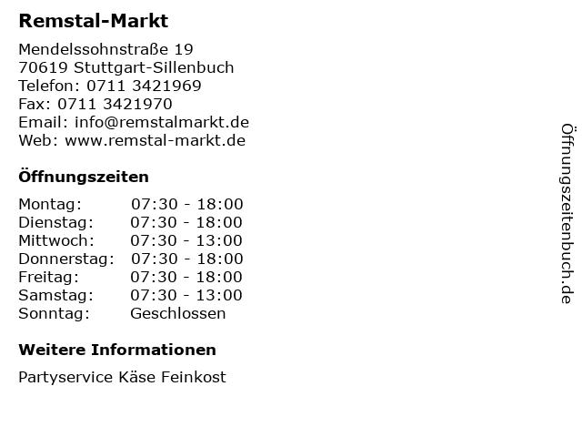 Remstal-Markt in Stuttgart-Sillenbuch: Adresse und Öffnungszeiten