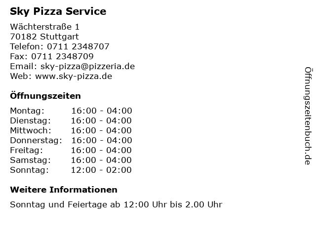 Sky Pizza Service in Stuttgart: Adresse und Öffnungszeiten