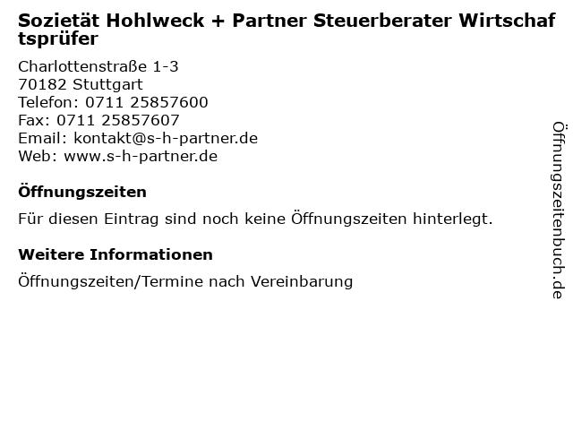 Sozietät Hohlweck + Partner Steuerberater Wirtschaftsprüfer in Stuttgart: Adresse und Öffnungszeiten
