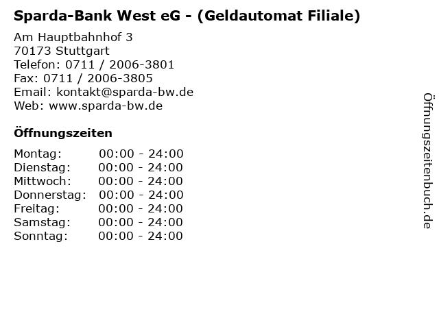 Sparda-Bank West eG - (Geldautomat Filiale) in Stuttgart: Adresse und Öffnungszeiten
