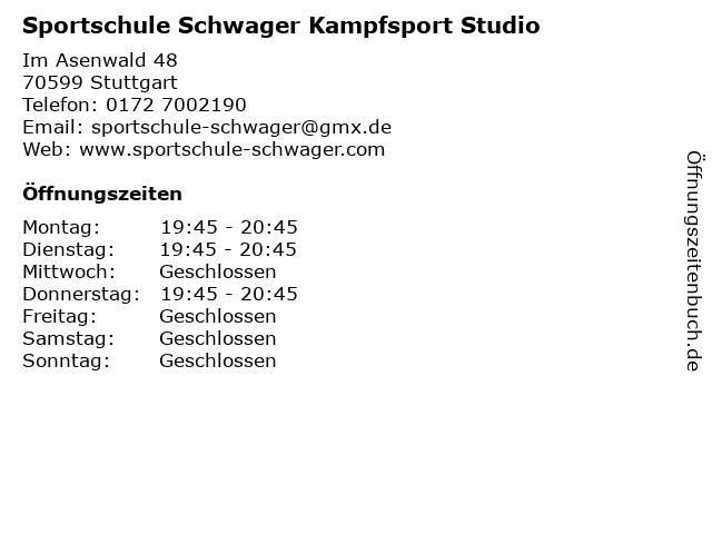 Sportschule Schwager Kampfsport Studio in Stuttgart: Adresse und Öffnungszeiten