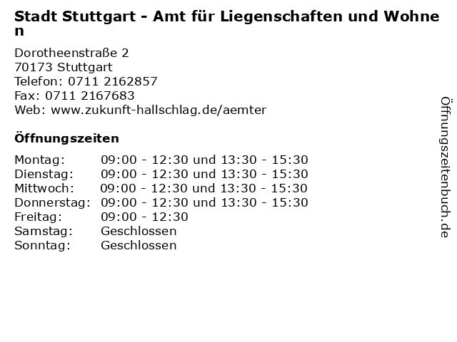 Stadt Stuttgart - Amt für Liegenschaften und Wohnen in Stuttgart: Adresse und Öffnungszeiten
