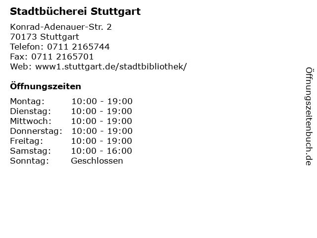 Stadtbücherei Stuttgart in Stuttgart: Adresse und Öffnungszeiten