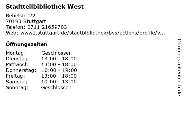 Stadtteilbibliothek West in Stuttgart: Adresse und Öffnungszeiten