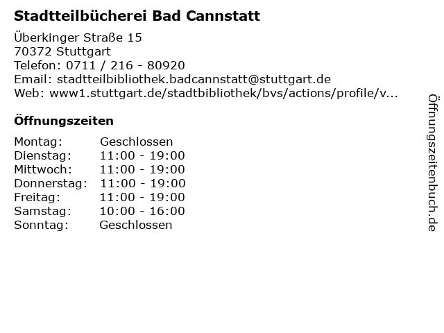 Stadtteilbücherei Bad Cannstatt in Stuttgart: Adresse und Öffnungszeiten
