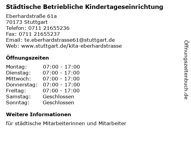Städtische Betriebliche Kindertageseinrichtung in Stuttgart: Adresse und Öffnungszeiten