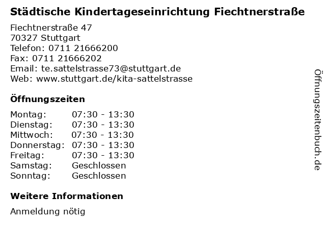 Städtische Kindertageseinrichtung Fiechtnerstraße in Stuttgart: Adresse und Öffnungszeiten