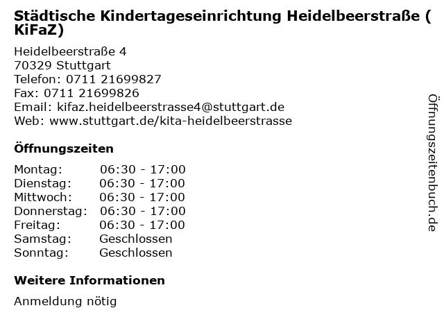 Städtische Kindertageseinrichtung Heidelbeerstraße (KiFaZ) in Stuttgart: Adresse und Öffnungszeiten