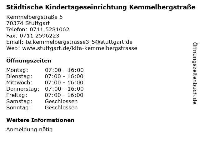 Städtische Kindertageseinrichtung Kemmelbergstraße in Stuttgart: Adresse und Öffnungszeiten