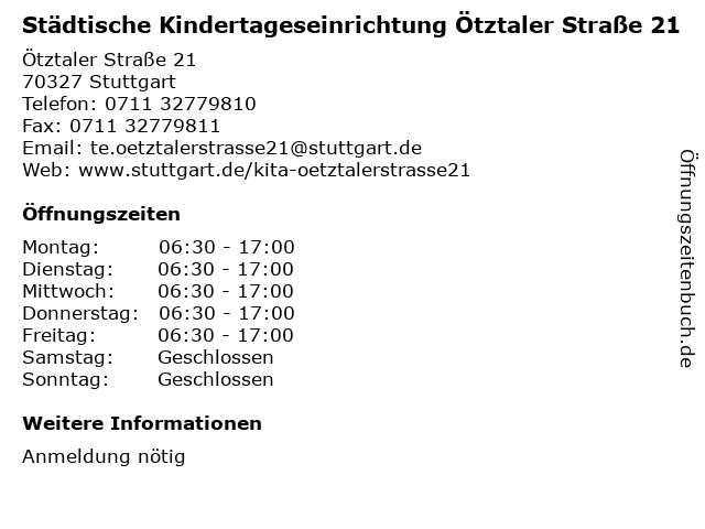 Städtische Kindertageseinrichtung Ötztaler Straße 21 in Stuttgart: Adresse und Öffnungszeiten